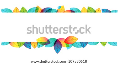 Vector colorful, hand drawn style autumn leaves horizontal banner illustration - stock vector