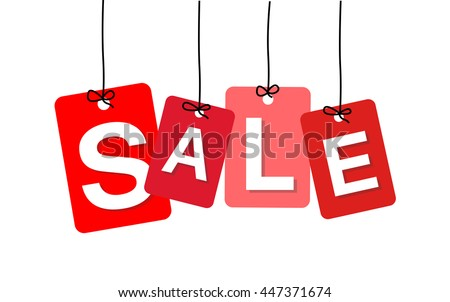 Vector colorful hanging cardboard. Tags - sale