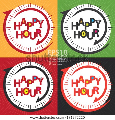 Vector : Colorful Happy Hour Sign or Label Isolated on White Background  - stock vector