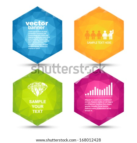 Vector - colorful hexagons banners - stock vector