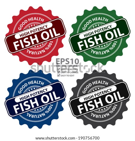Vector : Colorful High Potency Fish Oil, Good Health, 100 Percent Natural Icon, Label, Sticker, Stamp or Badge Isolated on White Background - stock vector