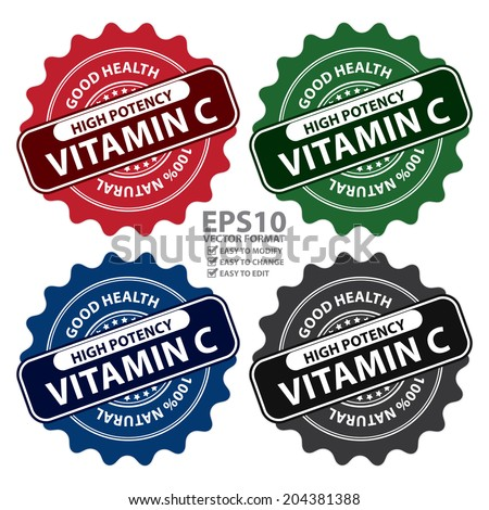 Vector : Colorful High Potency Vitamin C, Good Health, 100 Percent Natural Icon, Label, Sticker, Stamp or Badge Isolated on White Background  - stock vector