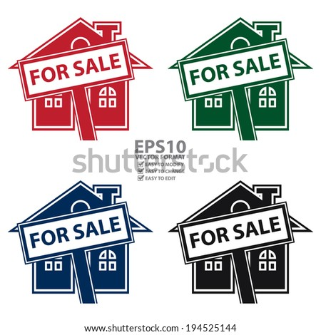 Vector : Colorful Home or Residence for Sale Icon or Label Isolated on White Background - stock vector