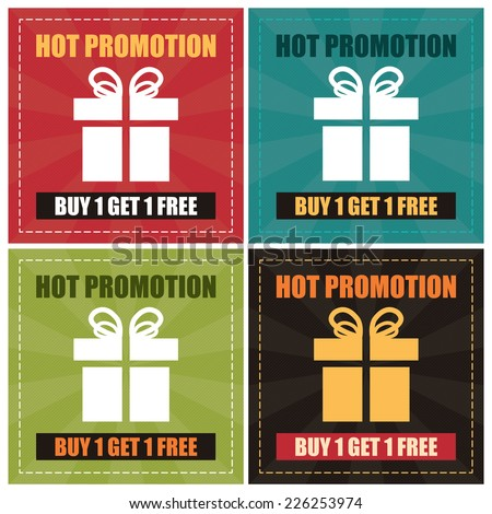 Vector : Colorful Hot Promotion Buy 1 Get 1 Free Label, Icon, Sticker, Brochure, Leaflet or Poster - stock vector