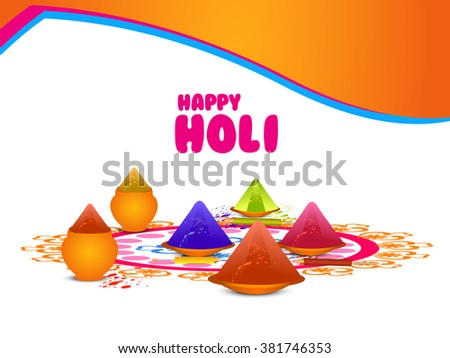 Vector colorful illustration for Indian festival holi, colorful spalsh and pichkari.
