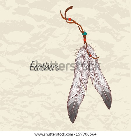 Vector colorful illustration of feathers - stock vector