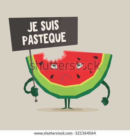 "Vector colorful illustration of watermelon with ""Je suis pasteque"" banner in hand  in flat style   - stock vector"
