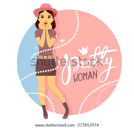 Vector colorful illustration of young girl in hat puts her hands together near the face and opens month with text  on pink and blue background.Art design for web, site,advert,banner,poster,flyer,print