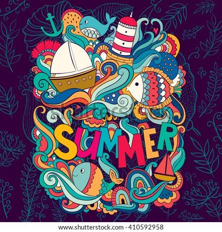 Vector colorful illustration with summer symbols. Cartoon fresh summer design - stock vector