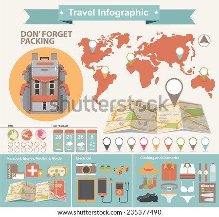 Vector colorful infographics about traveling  - stock vector