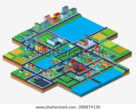 Vector.Colorful isometric city with lots of buildings. Isolated on white. Bird's-eye view.  - stock vector