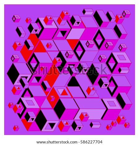 Vector colorful isometric cubes pattern. abstract wallpaper background. Illustration for fabric print.