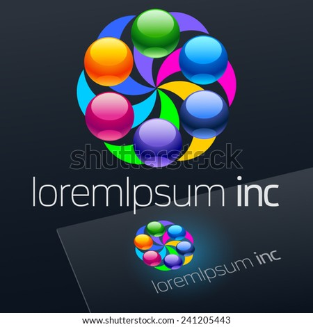 Vector colorful logo on dark Background.