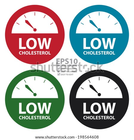 Vector : Colorful Low Cholesterol Bathroom Weight Scale Icon, Sign or Label Isolated on White Background - stock vector