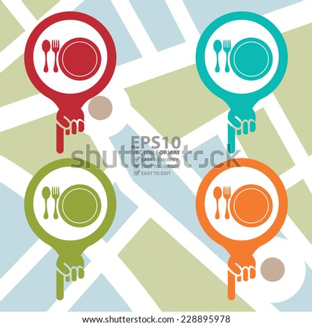 Vector : Colorful Map Pointer Icon With Food Center, Food Court, Cafeteria, Canteen or Restaurant Sign in POI Map Background - stock vector