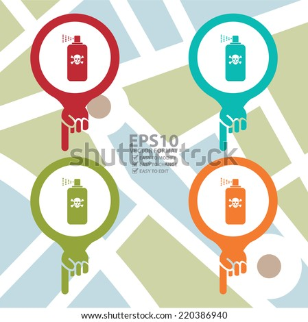 Vector : Colorful Map Pointer Icon With Toxic Spray, Insecticide Spray, Pest Control Service Sign in POI Map Background - stock vector