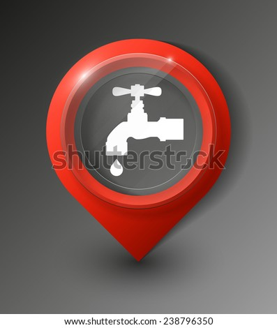 Vector : Colorful Map Pointer Icon With Water Supply or Tap Water Sign - stock vector