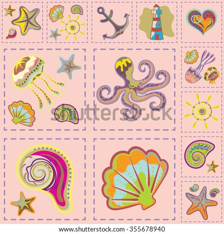 Vector Colorful Marine Seamless Pattern. Sea Patchwork
