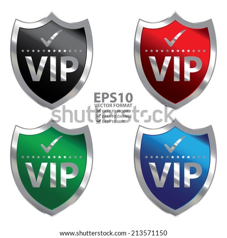 Vector : Colorful Metallic Shield With VIP Sign Isolated on White Background  - stock vector