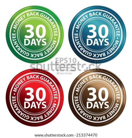 Vector : Colorful Metallic Style 30 Days Money Back Guarantee Icon, Badge, Label or Sticker for Product Warranty, Quality Assurance, CRM or Customer Satisfaction Concept Isolated on White Background  - stock vector
