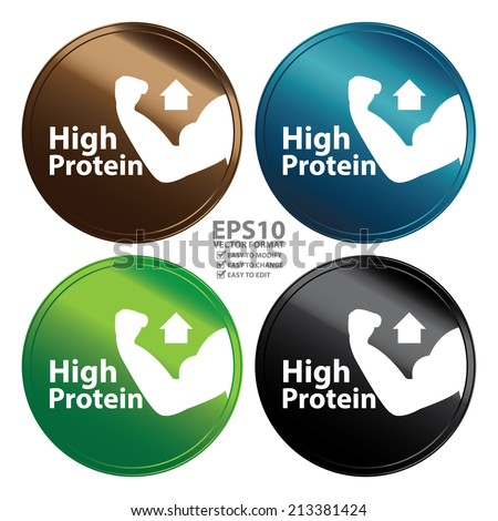 Vector : Colorful Metallic Style High Protein Icon, Badge, Label or Sticker for Healthy, Medical and Healthcare, Weight Loss, Diet, Fitness Product or Product Information Concept Isolated on White - stock vector