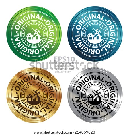 Vector : Colorful Metallic Style Original Icon, Label or Sticker Isolated on White Background  - stock vector