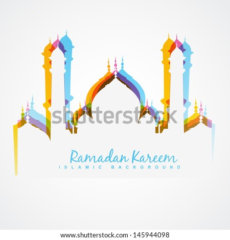 vector colorful mosque design illustration - stock vector