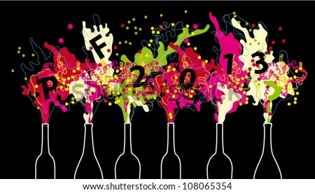 Vector Colorful New year 2013 wish with open Champagne bottles - stock vector