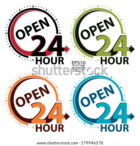 Vector : Colorful Open 24 Hour Icon or Label for Work Hour, Customer Service, Support or CRM Concept Isolated on White Background  - stock vector