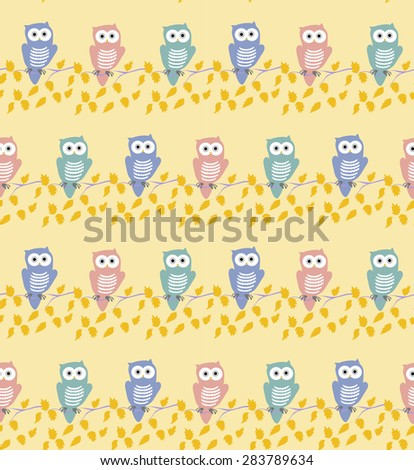 Vector colorful owl seamless pattern, Pink orange and turquoise owls on yellow background - stock vector