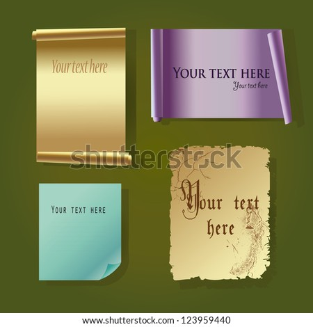 vector colorful paper and paper scrolls on the green background - stock vector