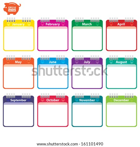 Vector: Colorful Paper Note with 12 month of the year. Eps10. - stock vector