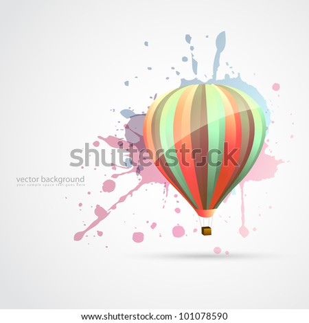vector colorful parachute on abstract style background - stock vector