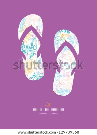 Vector colorful pastel branches flip-flops decor pattern background with hand drawn floral motif. - stock vector