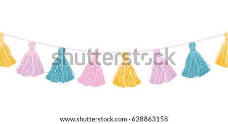 Vector Colorful Pastel Hanging Decorative Tassels With Ropes Horizontal Seamless Repeat Border Pattern. Great for handmade cards, invitations, wallpaper, packaging, nursery designs.
