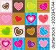 vector colorful patchwork with hearts - stock vector