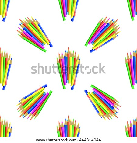 Vector Colorful Pencils Isolated on White Background. Colored Pencils Seamless Pattern - stock vector