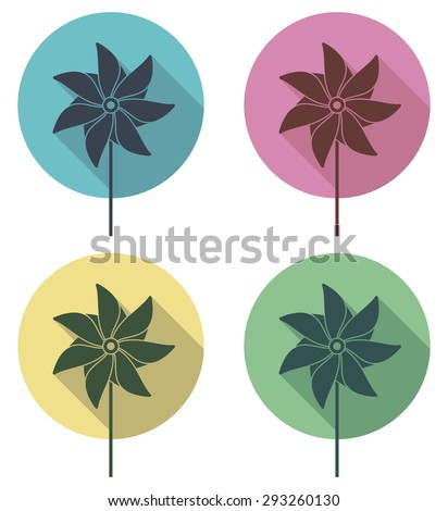 vector colorful pinwheel flat icons set - stock vector