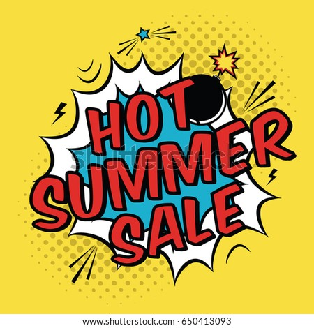 Vector colorful pop art illustration hot stock vector 650413093 vector colorful pop art illustration with hot summer sale discount promotion decorative template with halftone toneelgroepblik Images