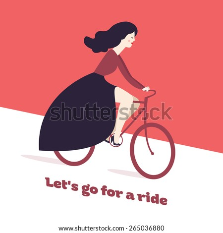 Vector colorful postcard with cute fashion girl on bicycle. Let's Go For A Ride. retro fashion girl on  bike . vector illustration on a pink background. romantic girl riding bicycle. - stock vector