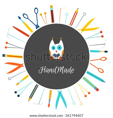 Logo vector maker stock images royalty free images vectors vector colorful poster with round frame blackboard owl brush needle thread solutioingenieria Images