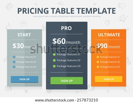 Vector colorful Pricing Table Template with three Plan Type - Start, Pro and Ultimate graphic design on light gray background with outline icon - stock vector