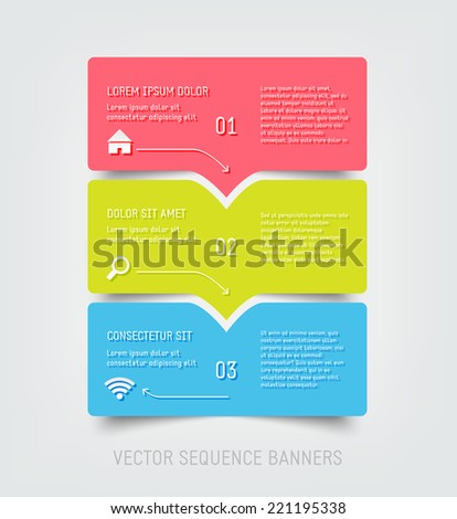 Vector colorful progress banners - stock vector