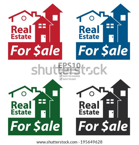 Vector : Colorful Real Estate for $ale Icon, Sign or Label Isolated on White Background  - stock vector