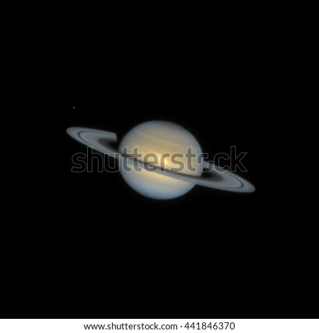vector colorful realistic planet Saturn isolated  NASA NSSDC image  on dark space background