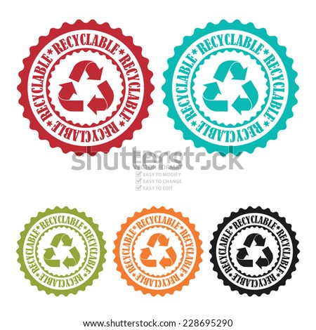 Vector : Colorful Recyclable Stamp, Badge, Icon, Label or Sticker Isolated on White Background  - stock vector