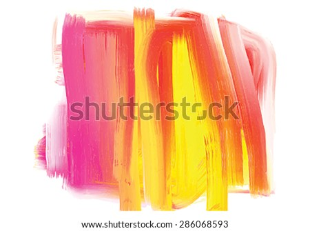 Vector colorful (red, pink, yellow) watercolor spot on the white background.