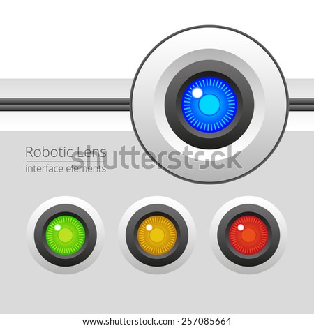 Vector colorful robotic eye or camera set on light background, design elements for web page, poster or presentation. EPS 8. - stock vector