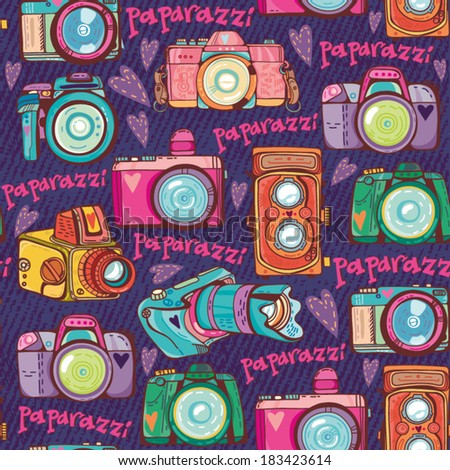 Vector colorful seamless pattern with cute retro cameras. - stock vector