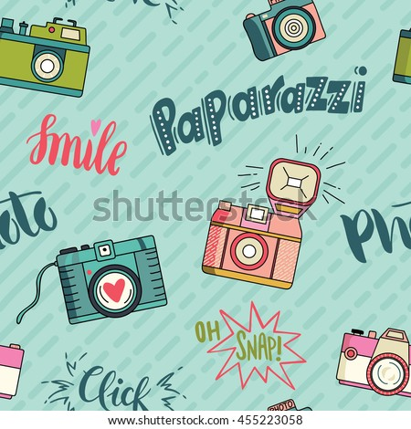 Vector colorful seamless pattern with cute retro cameras.
